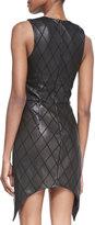 Cushnie et Ochs Sleeveless Black Diamond-Patterned Leather Dress