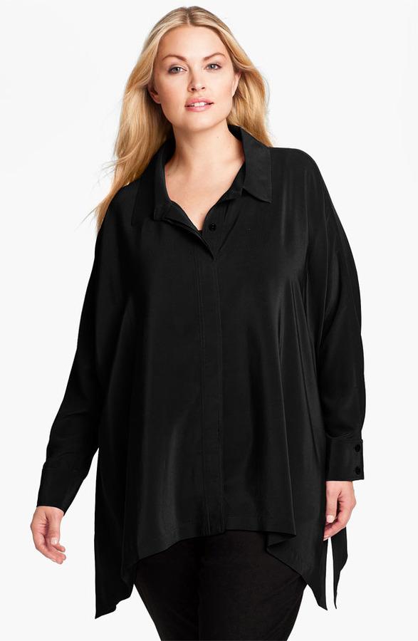 Eileen Fisher Oversized Silk Shirt (Plus)