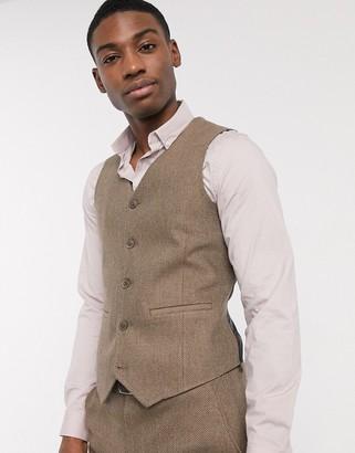 ASOS DESIGN wedding skinny wool mix suit suit vest in camel herringbone