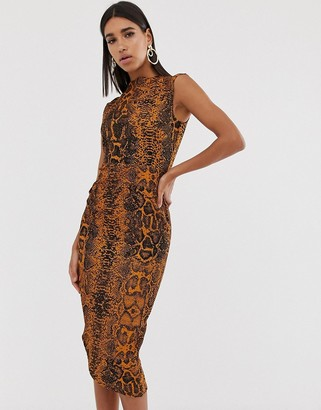 Asos Design DESIGN midi pencil dress with tuck detail in snake print