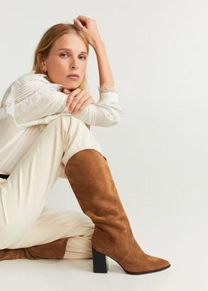 MANGO Heel leather boot medium brown - 9A - Women