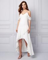 Le Château Chiffon Cold Shoulder Ruffle Gown