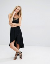 Pull&Bear Wrap Over Frill Midi Skirt