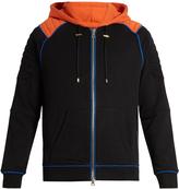 Balmain Biker zip-through cotton-jersey hooded sweatshirt