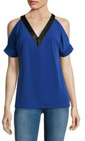 MICHAEL Michael Kors Faux Leather Trim Blouse
