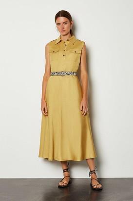 Karen Millen Linen Blend Button Through Utility Dress