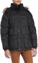 Ben Sherman Quilted Faux Fur Trim Hooded Coat