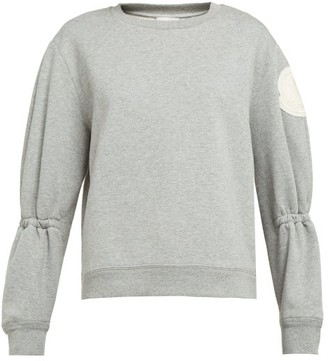 Moncler Gathered-sleeve Cotton-blend Jersey Sweatshirt - Light Grey