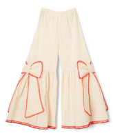 Ivory & Red Bow Flare Pants - Toddler & Girls
