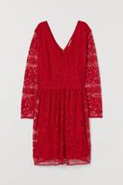H&M H&M+ Lace V-neck Dress - Red