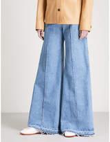 Ksenia Schnaider Wide Frayed Hem high-rise jeans