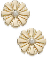 Charter Club Gold-Tone Imitation Pearl Button Earrings, Only at Macy's