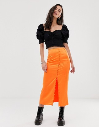 Asos Design DESIGN city maxi satin slip skirt with rouleau loop buttons-Orange