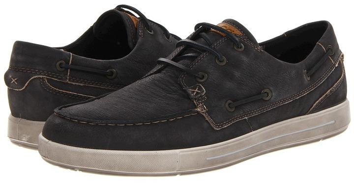 Ecco Androw Boat Shoe (Black Khara) - Footwear