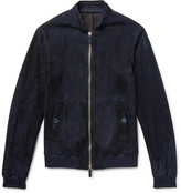 Giorgio Armani Slim-Fit Suede Bomber Jacket