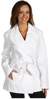 Larry Levine Poly Double Breasted Trench (White) - Apparel