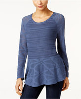 Style&Co. Style & Co Open-Knit Peplum Sweater, Only at Macy's