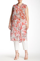 Vince Camuto Floral Wash Side Slit Tunic (Plus Size)