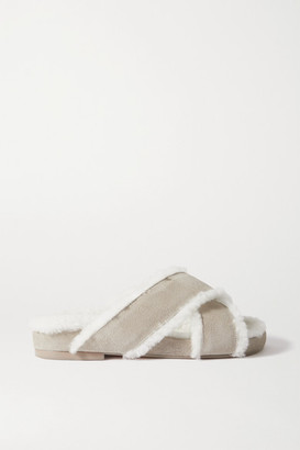 PORTE & PAIRE Shearling-lined Suede Slides - Gray