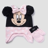 Toddler Girls' Minnie Mouse Hat & Mittens Set -