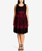 City Chic Plus Size Printed Lace Dress