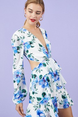 Coast Long Sleeve Cutout Lace Trim Skater Dress