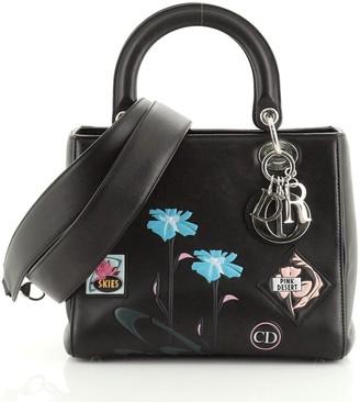Christian Dior Lady Bag Patch Embellished Leather Medium