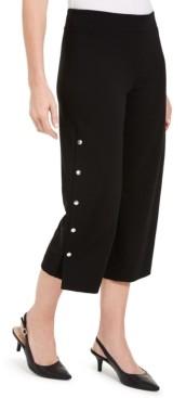 JM Collection Crepe Snap Wide-Leg Capri Pants, Created for Macy's