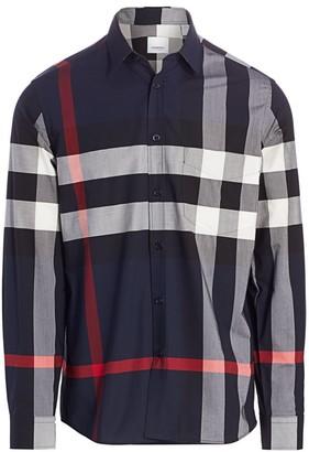 Burberry Simpson Stretch Cotton Check Shirt