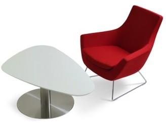 sohoConcept Island Pedestal Coffee Table Color: White Lacquer