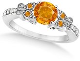 Allurez Preset Women's Citrine and Diamond Butterfly Engagement Ring w/ Side Stones 14K White Gold 0.88ctw