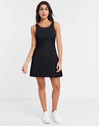 Noisy May racerneck swing dress in black