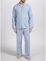 Derek Rose Brushed Cotton Stripe Pyjamas, Blue/white