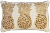 3 Beaded Pineapples Oblong Throw Pillow in Natural
