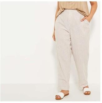 Joe Fresh Women+ Linen Blend Pants, Light Khaki Brown (Size 3X)