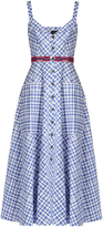 Saloni Fara sleeveless stretch-cotton gingham midi dress