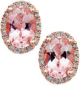 Macy's Morganite (1-1/3 ct. t.w.) and Diamond (1/8 ct. t.w.) Stud Earrings in 14k Rose Gold