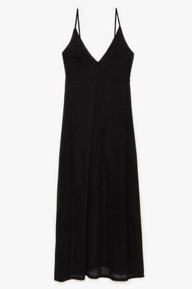 Nasty Gal Womens Let's Knit the Beach Relaxed Maxi Dress - Black