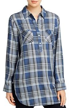 Cupio Plaid Long-Sleeve Henley Button-Up Shirt