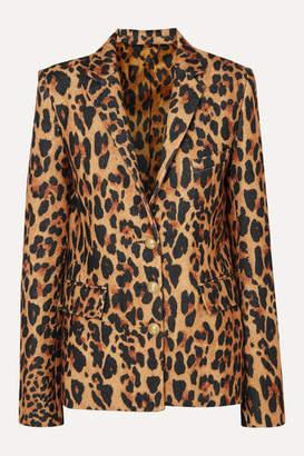 Paco Rabanne Leopard-print Wool-blend Blazer - Brown