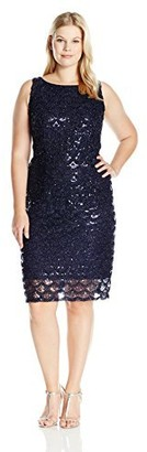 Sandra Darren Women's Plus Size Sd Collection Sleeveless All Over Sequin/Mesh Dress