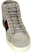 Gucci Men's Light Suede Brb Leather Web Detail High-top Sneaker 337221 11 G / US 11.5)