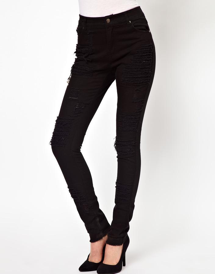 Tripp Nyc Stud Cross And Rip Skinny Jeans