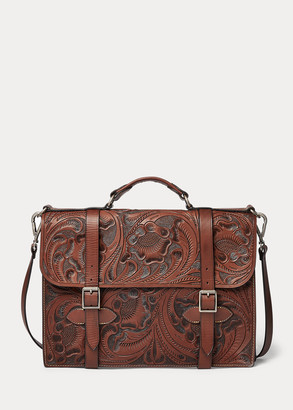 Ralph Lauren Hand-Tooled Leather Briefcase