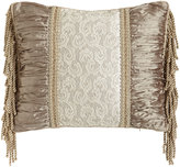 "Sweet Dreams Parisia Pillow with Lace Center, Ruched Silk Sides, & Bullion Fringe, 15"" x 18"""