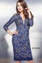 Jovani Quarter Sleeve Deep V Neck Lace Short Sheath Dress 33260