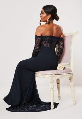 Missguided Petite Bridesmaid Navy Bardot Long Sleeve Fishtail Maxi Dress