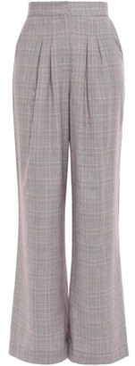 Paper London Gladys Pleated Gingham Twill Wide-leg Pants