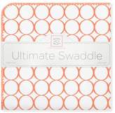 Swaddle Designs Ultimate Receiving Blanket with Mod Circles on White in Orange