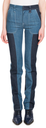 Chloé Zip-Front Patch-Pocket Straight-Leg Bicolor Jeans